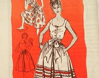 Vintage 1960s Sleeveless Button Front Culottes Jumper Dress Prominent Designer Mr. Mort Mail Order M131 Bust 34 UNCUT