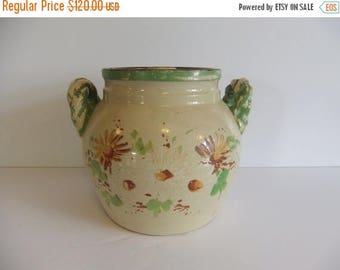 50% off Sale ON SALE Antique Cookie Jar, Pottery, Bean Pot, Crock, Twisted handles, Orginal lid, cover, Flowers, Chipping paint, Green brown