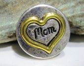 Gold and Silver Mom heart snap charm - Valentine - Chunk charms - Fits Ginger Snaps, Magnolia Vine, Noosa - 18-20mm - Snap buttons