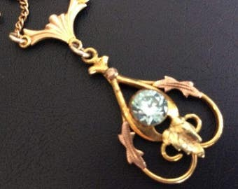 Vintage Victorian Revival Gold Filled Necklace Pendant Aqua Blue 4.3 Grams