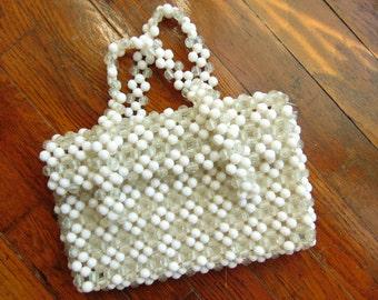 Vintage WHITE Beaded Hand Bag Purse 1960s