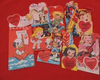 vintage Valentine's Day cards 50s kitsch graphics school valentine paper ephemera collection