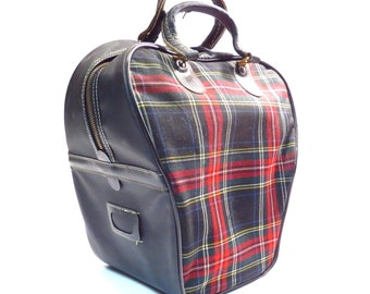 Red and Black Plaid Westchester Bowling Bag Vintage 1950s 1960s Retro Rockabilly Bowling Ball Bag Overnighter