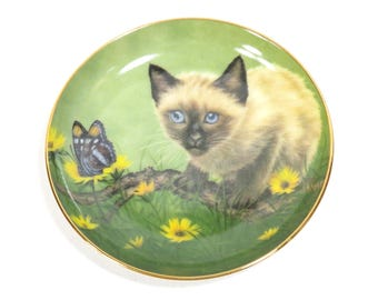 Siamese Kitty Kats American Heritage Art Plate by Kari Vintage 1980s Numbered Miniature Collector Plate