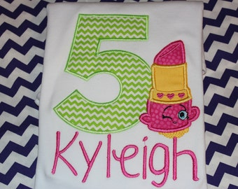 Shopkins inspired 5th birthday tshirt, or dress- any number- Lipstick birthday
