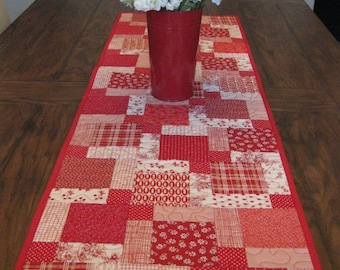 Red and White Quilted Table Runner