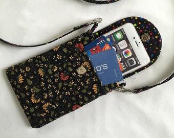 Iphone 6 Plus Smart Phone Gadget Case Detachable Neck Strap Quilted Tiny Flowers Black