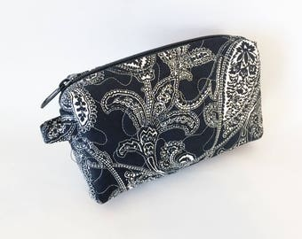 Small Cosmetic Quilted  Vinyl Lined Zipper Floral Black and White Paisley