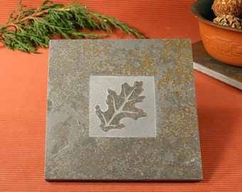 Slate Trivet / Hot Plate - Oak Leaf Sandcarved on Copper Slate
