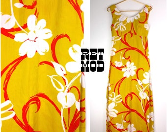 Bold Vintage 60s 70s Yellow, White and Red Psychedelic Floral Maxi Dress!