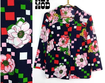 Groovy Vintage 70s Navy Blue, Red, Pink, Green and Yellow Floral Op Art Geometric Pattern Shirt!