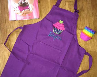 Cupcake Embroidered Cooking Apron Children Girls Baking Personalized
