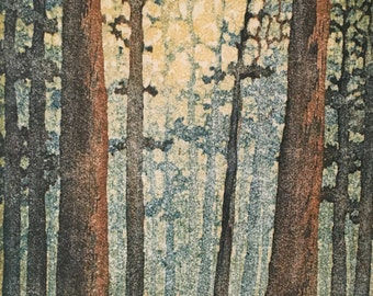 Woodblock Print Forest No. 11 Limited Edition Moku Hanga Reduction Print, Matted Original Block Print Fine Art Landscape