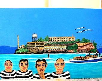 folk art painting Alcatraz prison inmates legend colorfull naive 12x24 New