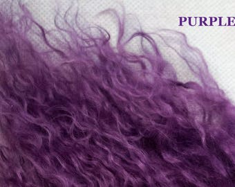 Tibetan lamb remnants lambskin scrap doll hair lambswool wool mohair Purple