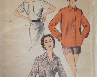 Vintage 40s Button Down Blouse Pattern Man Styled Menswear 36 bust UNCUT FF Advance 6392