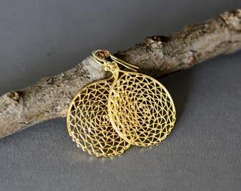 Gold Filigree Earrings - Gold Vermeil Earrings - Gold Lace Earrings - Statement Jewelry - Chandelier Earrings - Boho Jewelry - Gift for Her