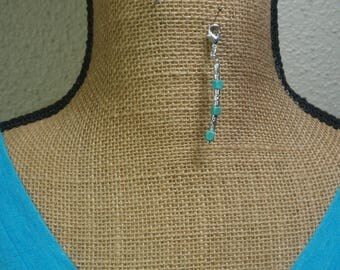 Turquoise Gemstone, 925 Silver Zipper Pull