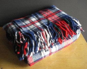 Fall Fling - Vintage Plaid Troy Leisure Blanket - Red, White, Green, Blue Picnic Blanket - Wool Tartan Troy Mills New Hampshire Blanket