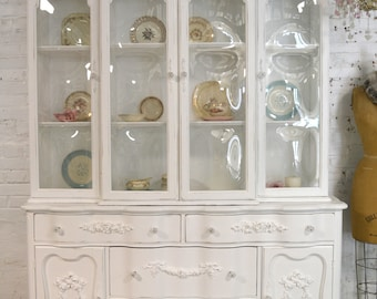 Painted Cottage Chic Shabby White Romantic French China Cabinet CC902