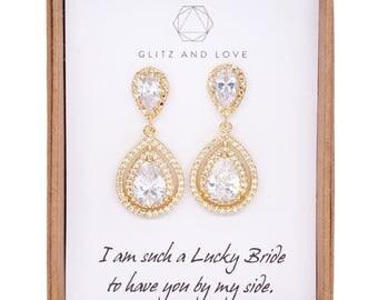 Deluxe Cubic Zirconia Halo style Teardrop dangle Earrings, Gold Bridal Cubic Zirconia earrings, Classic Hollywood