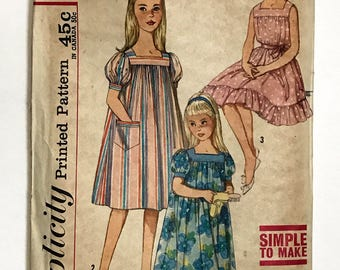 Vtg Simplicity Pattern 3938 Girls Muu Muu Dress Nightgown Simple To Make SZ 8