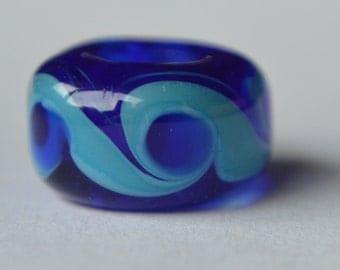 Unique Mid Cobalt Handmade Lampwork Glass European Charm Bead - SRA - Fits all charm bracelets - Silver Core Options