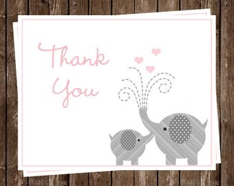 Elephant, Thank You Cards, Baby Shower, Sprinkle, Hearts, Girls, Pink, Rose, 20 Folding Notes, FREE Shipping, LPNPK, Little Peanut