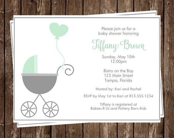 baby shower invitations unisex mint green gray carriage, Baby shower invitations