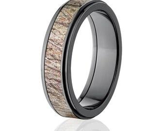 New Black Zirconium 6mm Brush Mossy Oak Licensed Mossy Oak Camo Ring Camo Wedding Ring Black Zirconium Wedding Band: BZ-6RC-BRUSH