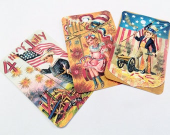 Patriotic Kids Tags - Variety Set 8 - Vintage July 4th - Fourth Of July Fun - Independence Day - Gift Tags - Red White Blue Gold