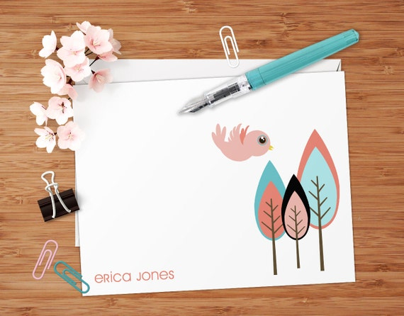 Brianna (Retro Trees and Bird) - Set of 8 CUSTOM Personalized Flat Note Cards/ Stationery
