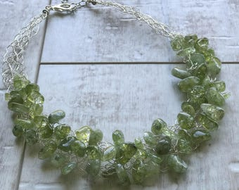 Quartz Necklace, Green Quartz Necklace, Chunky Necklace, Statement Necklace, Wire Crochet Necklace