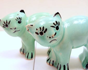 Set Of Two 30s/40s Kitty Cactus Butt Planters