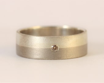 Two Shades of Grey !! Palladium and sterling silver band with brown diamond.