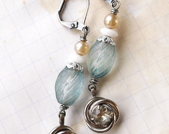 Blue and Crystal Dangle Earrings - silver, blue and white, vintage style, pearls, upcycled vintage