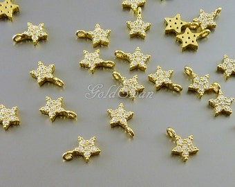 2 pcs very tiny 6mm CZ pave star charms, Cubic Zirconia star charms, gold star necklace pendant 2089-BG
