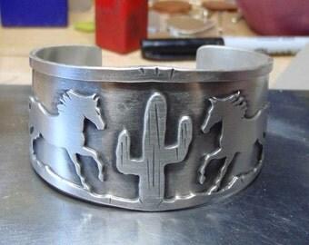 Silver horse cuff bracelet