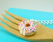 Cyber Monday Sale Food Necklace // Donut Necklace with Rainbow Sprinkles // READY TO SHIP