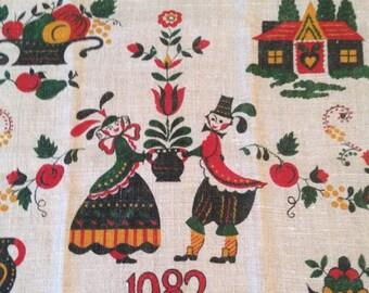 Vintage Dish Towel - 1982 Calendar Towel - Dutch Girl and Boy - Unused