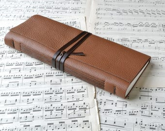 Brown Leather Music Lovers Journal with Full Size Staff Paper
