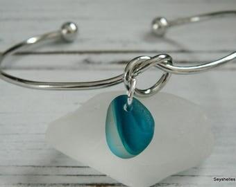 Knot Bracelet with Unique Turquoise Sea Glass by Seyshelles
