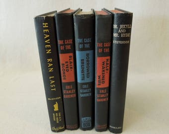 Black Book Stack - Vintage Book Decor - Instant Library - Mid Century Book Collection