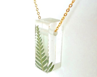 "Resin Bar Necklace with Fern 1"".  Resin Jewelry with Real Pressed Flowers - Resin Jewelry.  Handmade Jewelry. Sterling.  Gold."