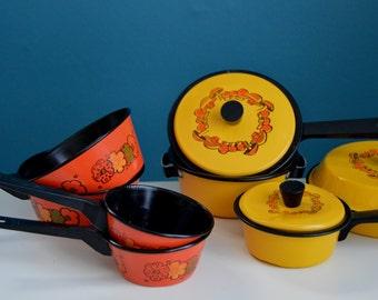 Vintage 1970s 11 Piece Toy Cookware Set