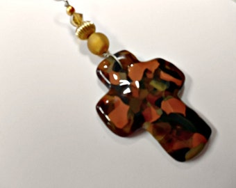 Cross ornament  brown fused glass wall hanging