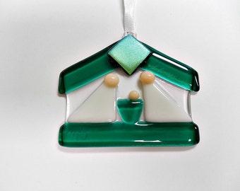 Green and white Fused Glass Nativity/ Suncatcher/ Ornament/ Keepsake