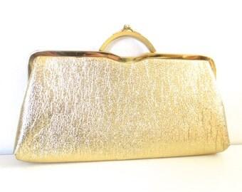 Vintage Gold Metallic Clutch Handbag