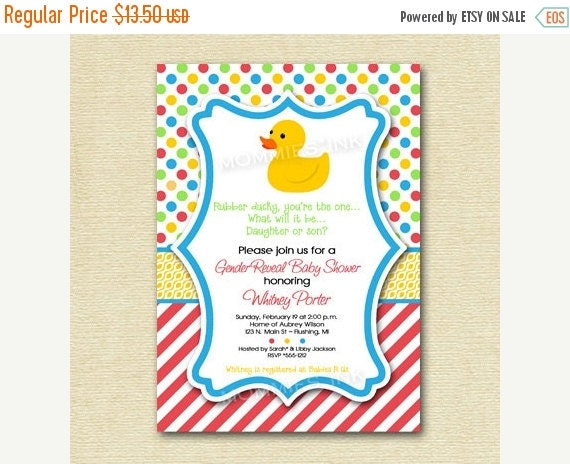 10% OFF SALE Rubber Ducky...You're The One...Gender Reveal Baby Shower Invitation - PRINTABLE Invitation Design