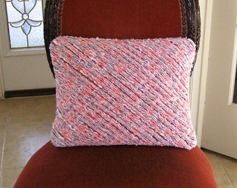 "Handmade Red White Grey Black Faux Chenille Pillow 12"" x 16"" - includes insert"